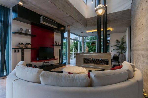 rote Wohnwand-Wohnzimmer Design-Ideen-weiße Möbel livingroom - einrichtung im industriellen wohnstil ideen loftartiges ambiente
