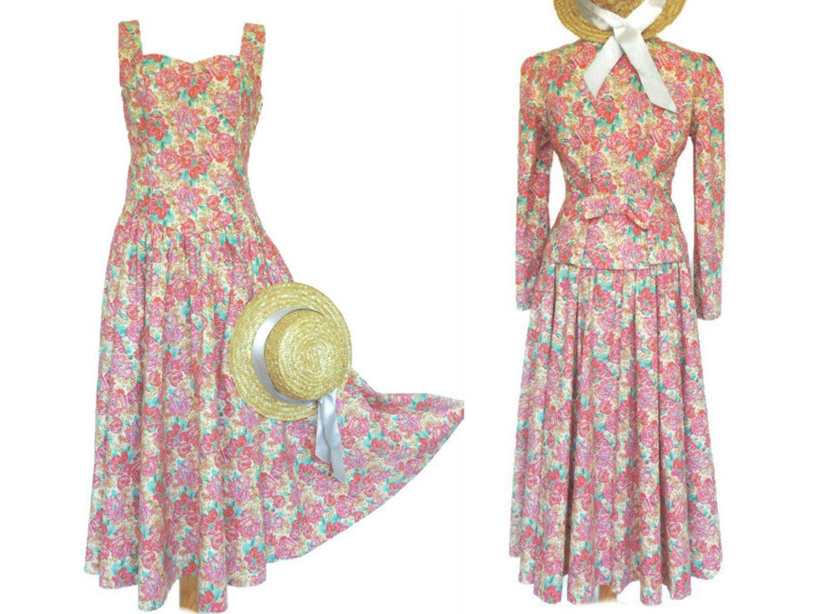 80s Laura Ashley Pink Floral Cotton Dress Jacket Vintage Prairie Summer 2 Piece Outfit Uk 10 Floral Cotton Dress Printed Cotton Dress Vintage Fashion