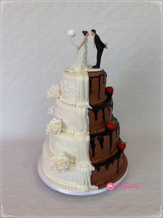 Pastel de bodas novios en dos partes blanco-marrón