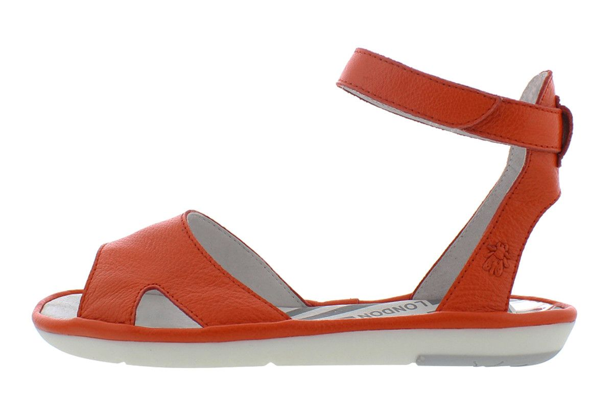 5242be5a004 Fly London Mafi Poppy Orange Leather Ankle Strap Open Toe Flat Sandals