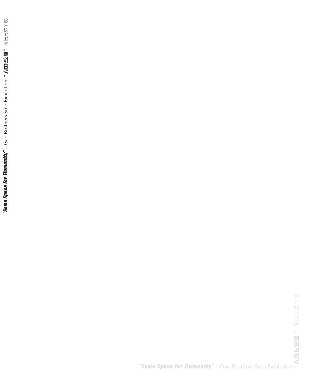 人性的某处空间 GAO BROTHERS – SOME SPACE FOR HUMANITY  CLOTHBOUND: SOFTCOVER DIMENSIONS: 19X25CM LANGUAGE: ENGLISH/CHINESE PUBLISHER: IFA GALLERY PRINT DATE: 2008