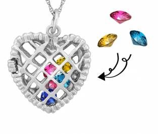 Jared Mothers Heart Necklace Round Birthstones Design in Silver