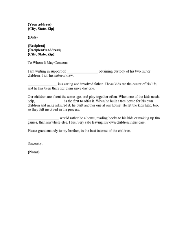 Sample character reference letter for court child custody example