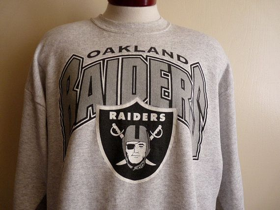38d01cb36 vintage 90 s Oakland Raiders NFL football sport team men women unisex heather  grey crew neck graphic sweatshirt fleece pullover black silver