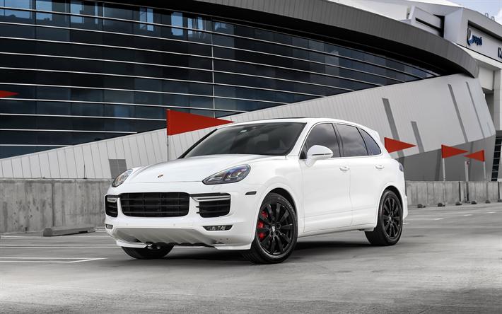 Indir Duvar Kagidi Porsche Cayenne Turbo 2017 Beyaz Luks Suv Ayarlama Kirmizi Siyah Jantlar Alman Otomobil Pors Cayenne Turbo Porsche Cayenne Luxury Suv