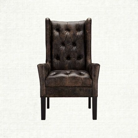 Halstead Tufted Leather Dining Arm Chair In Bronco Iron