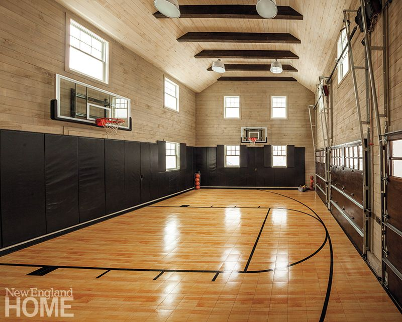 Colonial Revived New England Home Magazine Home Basketball Court Indoor Sports Court Indoor Basketball Court