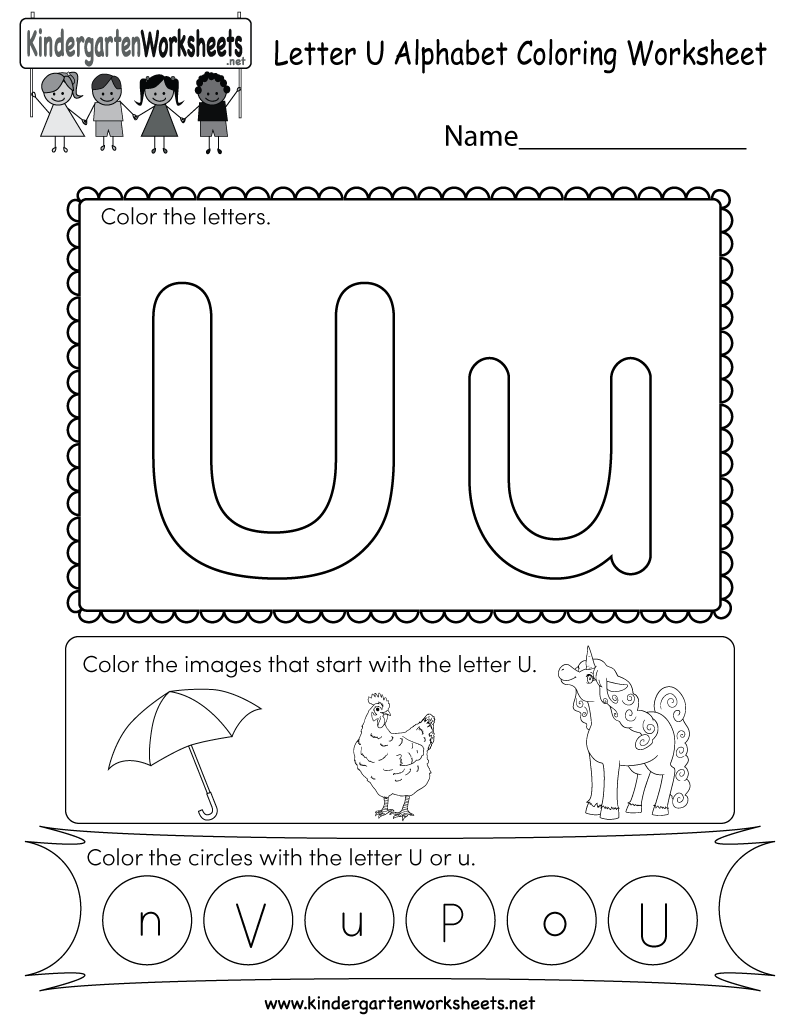 This Is A Letter U Coloring Worksheet Children Can Color The Letters And The Images T Preschool Worksheets Kindergarten Worksheets English Worksheets For Kids
