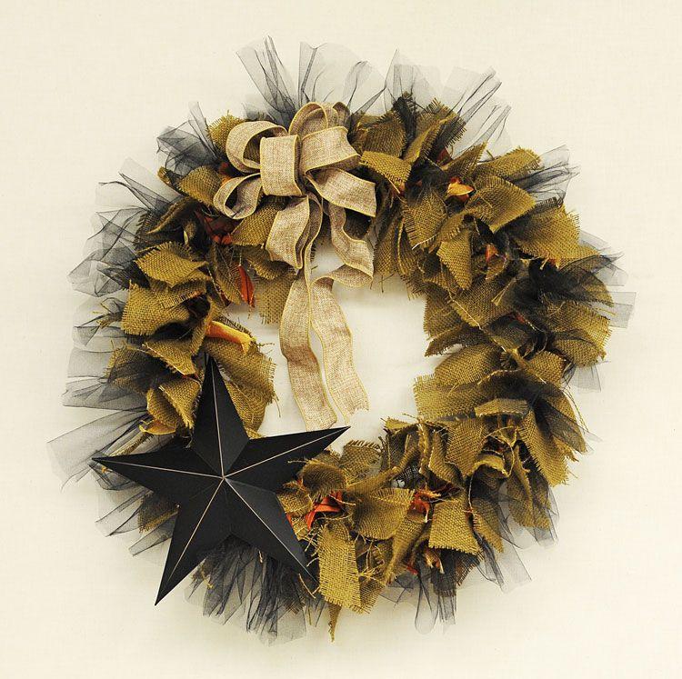 Fall Burlap Wreath @Ben Silbermann Franklin Crafts & Frame Shop Bonney Lake #burlap #star #tulle #autumn #harvest #decor