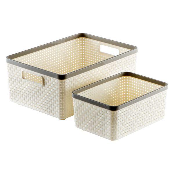 Grey Cottage Woven Storage Bins: Ivory Cottage Woven Storage Bins