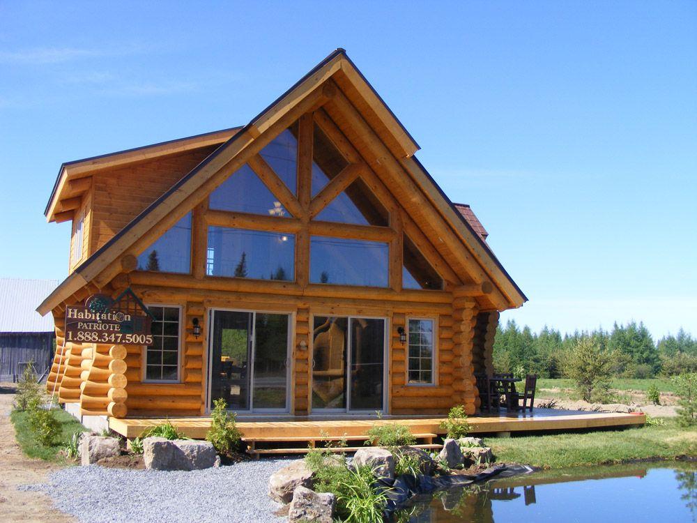 Milled log houses mod le alaska patriote cottage maison bois rond chalet bois maison bois for Maison bois rond