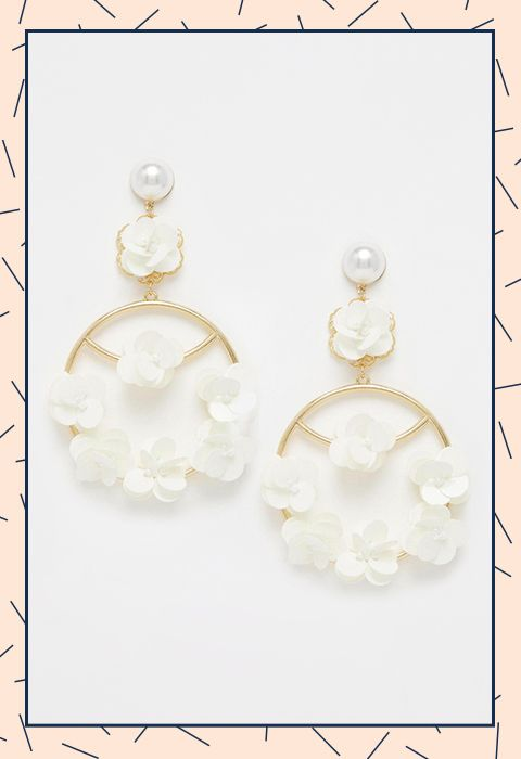 Every wedding updo deserves a lit pair of earrings and these sequin chandeliers are more than appropriate
