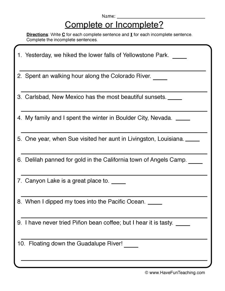 Rewriting Incomplete Sentences Worksheet Incomplete Sentences Writing Sentences Worksheets Sentence Writing Fixing sentences worksheets
