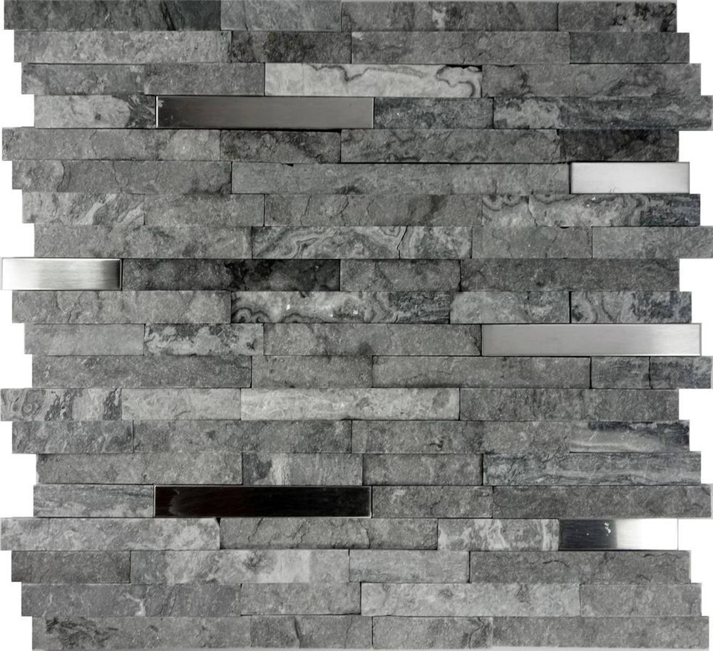 1sf gray natural stone stainless steel insert mosaic tile kitchen 1sf gray natural stone stainless steel insert mosaic tile kitchen backsplash dailygadgetfo Gallery