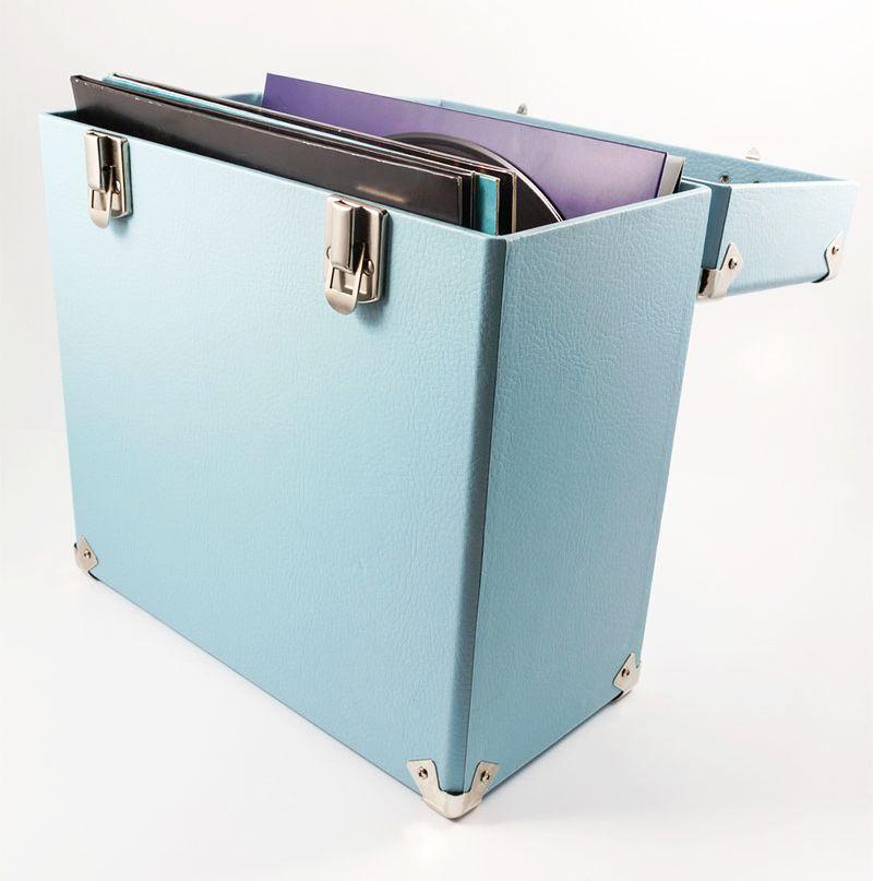 Gpo Record Storage Box Lp Album 12 Vinyl Dj Flight Carry Case Light Blue