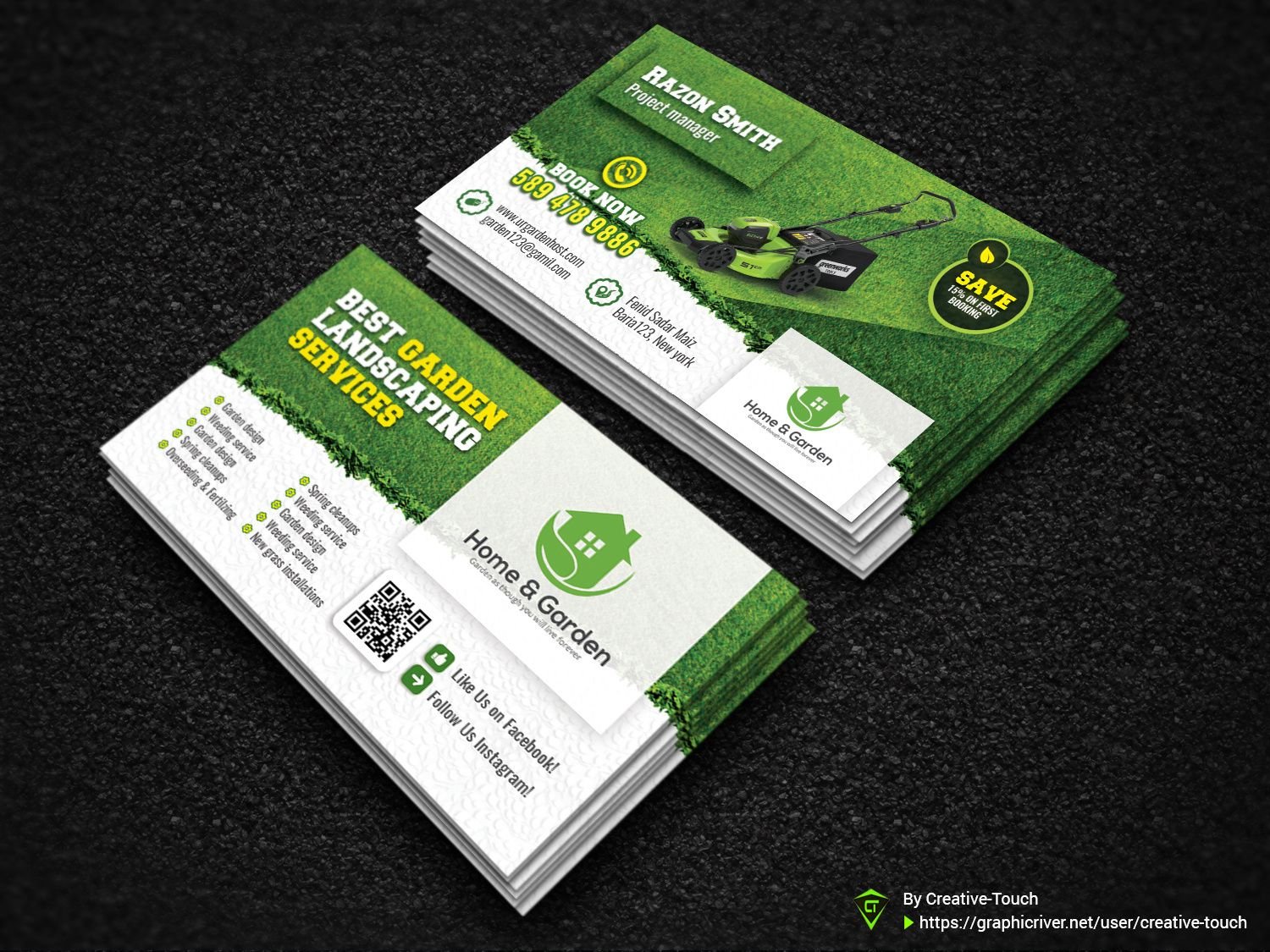 Garden Business Cardcreative Touch On Dribbble Regarding Gardening Business Cards Templates B Landscaping Business Cards Business Card Template Card Template