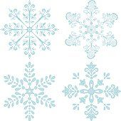 Christmas holiday decorating: set blue winter snowflakes on white background. Vector illustrationChristmas holiday decorating: set blue winter snowflakes on white background. Vector illustration