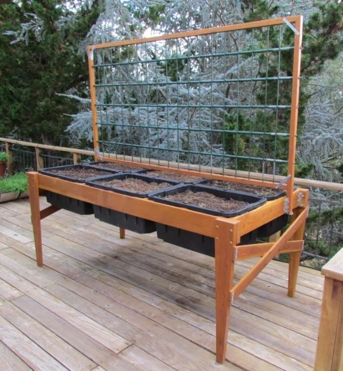 Raised Bed Garden Planter With Length Wise Trellis