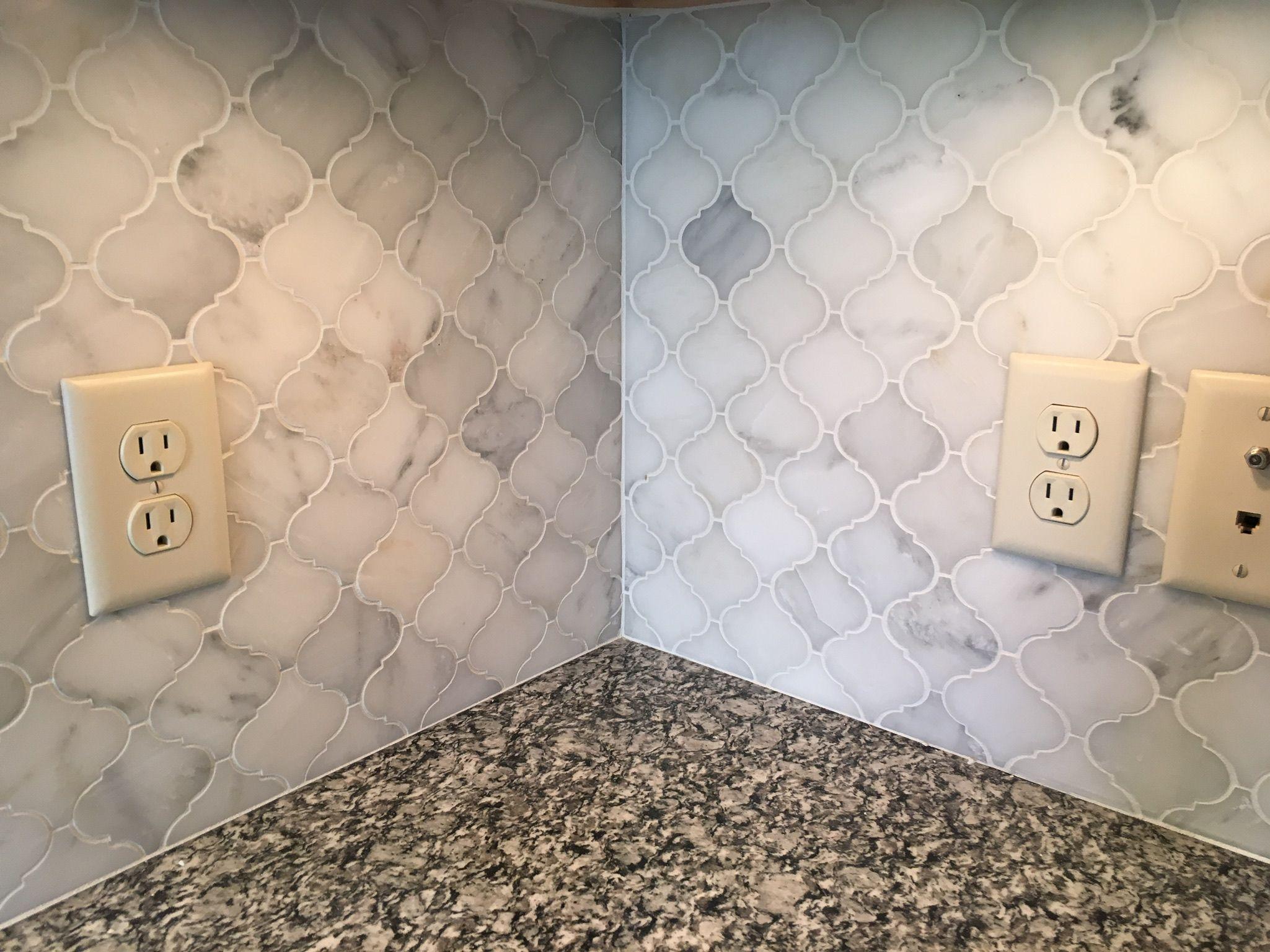 "- White Marble Kitchen Backsplash. 3"" Arabesque Lantern Inset Above"