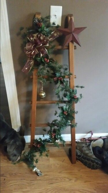 Christmas Ladder Country Christmas Decorations Christmas Wood Christmas Deco