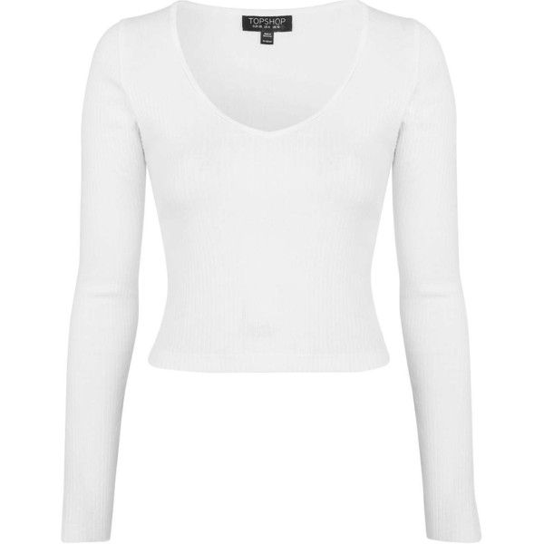 4affc7cbfdfb1c TopShop V-Neck Ribbed Top ($17) ❤ liked on Polyvore featuring tops, shirts, crop  top, long sleeve tops, white, long-sleeve shirt, white top, jersey shirts  ...