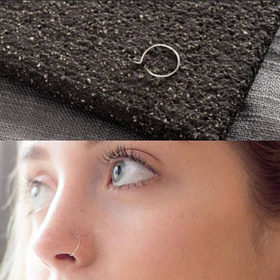 Very Thin False Nose Ring Silver Sterling Fake Nose Ring