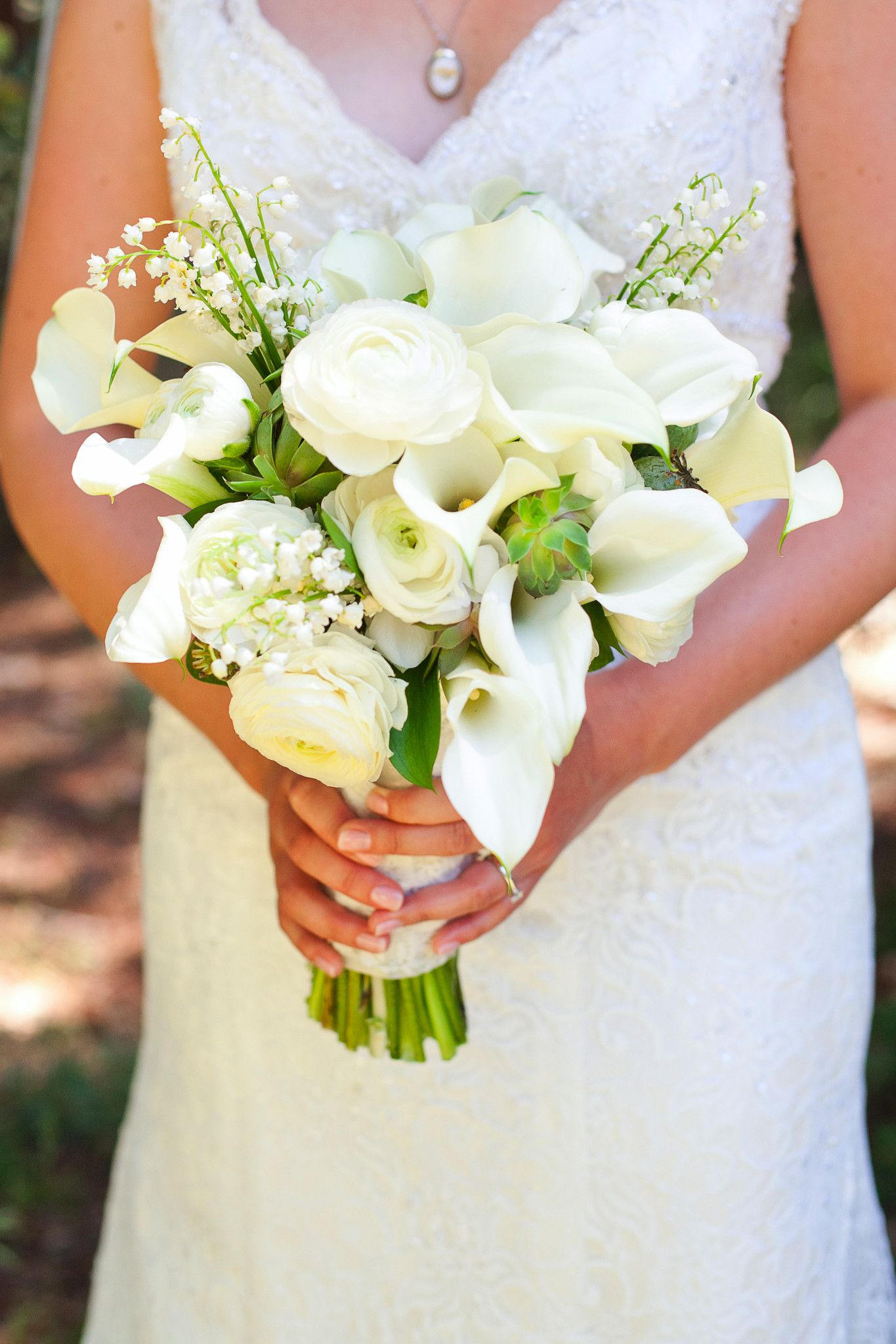 Bridal Bouquet Calla Lily Lily Of The Valley Rustic Outdoor