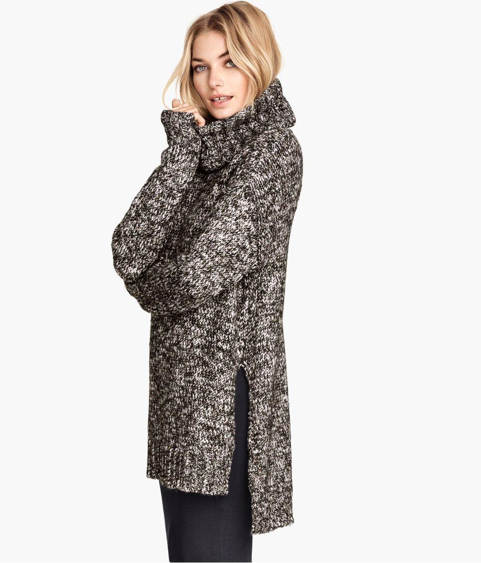 Long, chunky-knit turtleneck sweater in black & white melange yarn ...