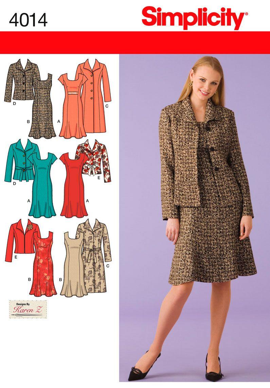4014 Misses' & Plus Size Dresses Miss or Plus Size Unlined Coat ...