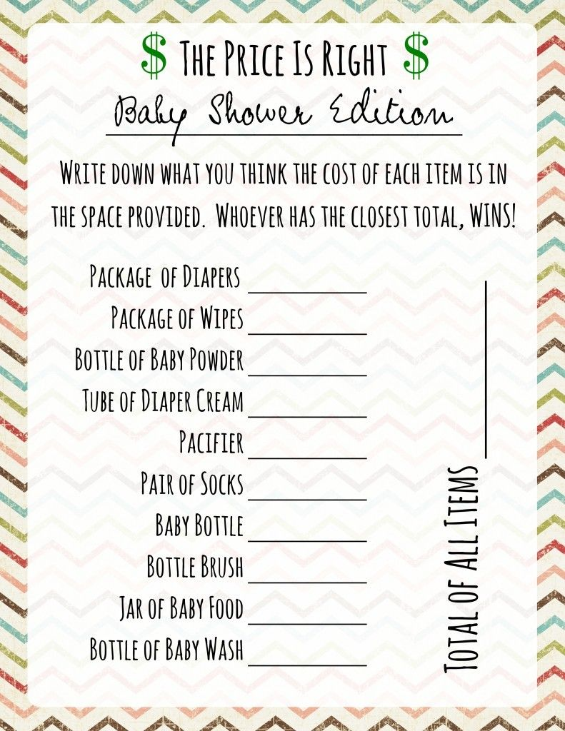 Free Printable Baby Shower Games Price Is Right Game