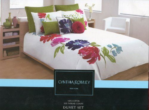 Cynthia Rowley New York Luxury Floral Duvet Cover Set Full Queen