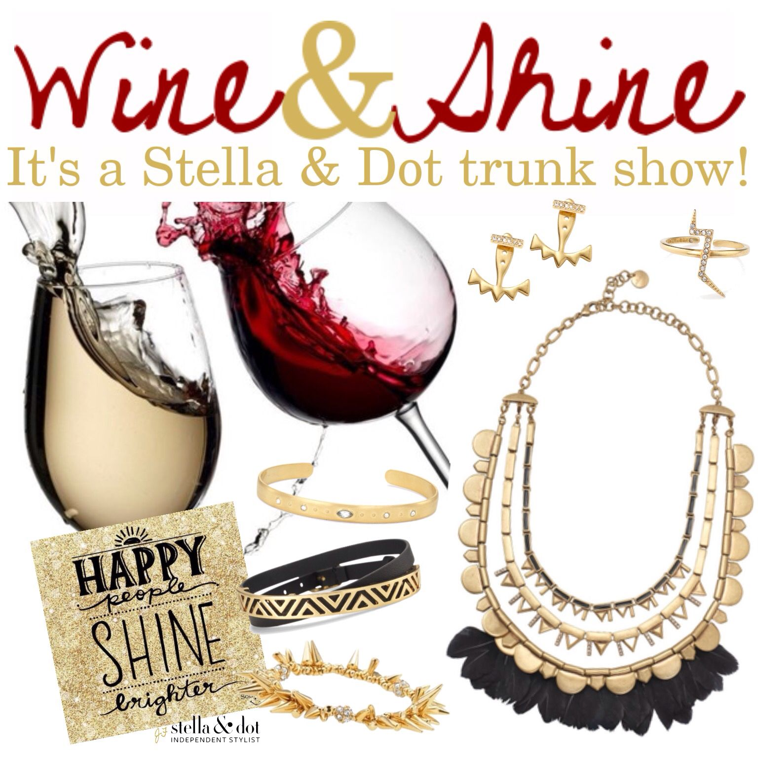 Wine & Shine Stella & Dot trunk show party theme and booking image. Perfect for a Sunday brunch trunk show!