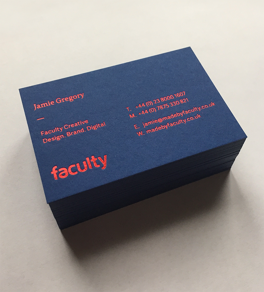 Faculty Creative business cards. GF Smith Colourplan 540gsm ...