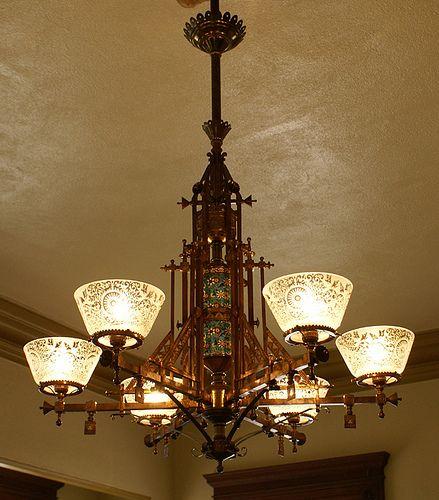 Bradley & Hubbard gas chandelier - Bradley & Hubbard Gas Chandelier Chandeliers, Aesthetic Movement
