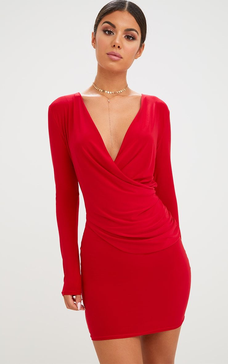 Red Slinky Ruched Wrap Over Bodycon Dress Bodycon Dress Dresses Cute Dresses [ 1180 x 740 Pixel ]