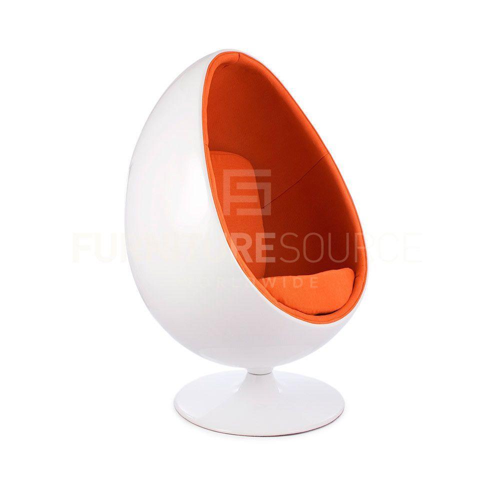 Mid Century Modern Egg Pod Chair Eero Aarnio Style Orange Fabric