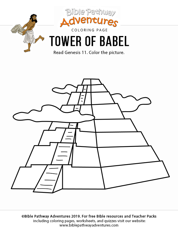 Tower Of Babel Coloring Page For Kids Printable Bible