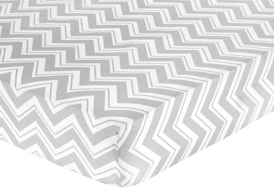 Sweet Jojo Designs Zig Zag Turquoise and Gray Collection Fitted Crib Sheet