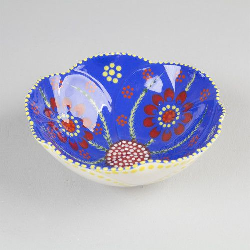 Ceramic flower bowl pottery South Africa painted patterns