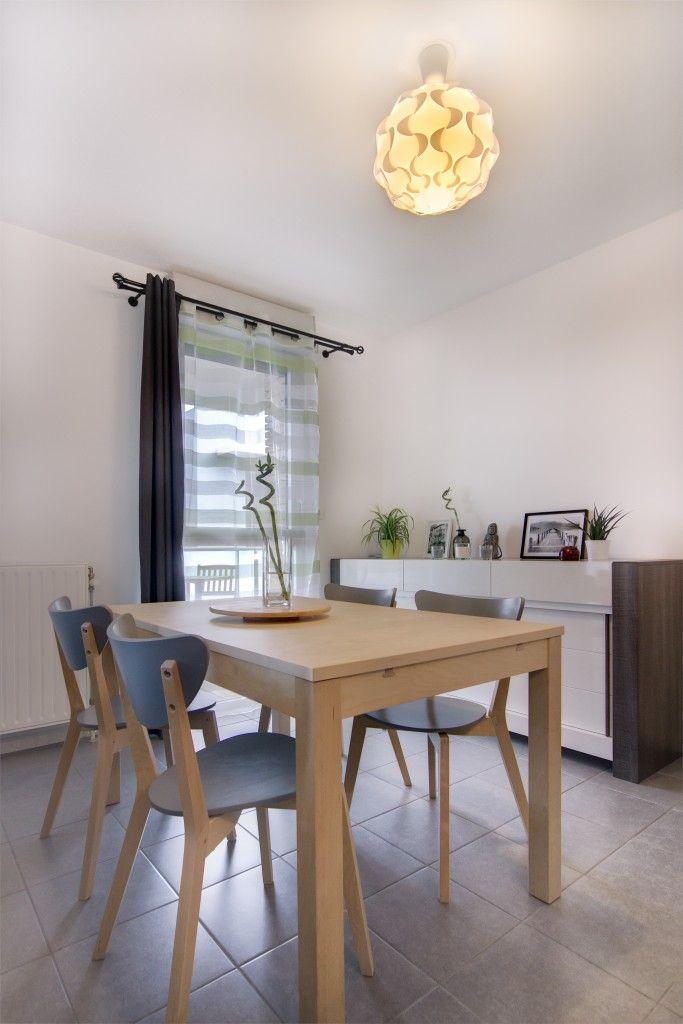 Salle manger zen chene clair bois gris blanc table bois - Salle a manger zen ...