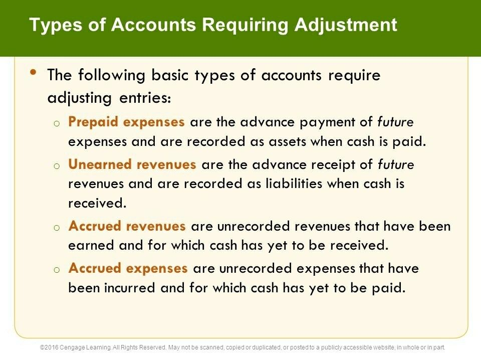 Accounts that can be adjusted- Accrued revenues, accrued expenses - advance payment receipt