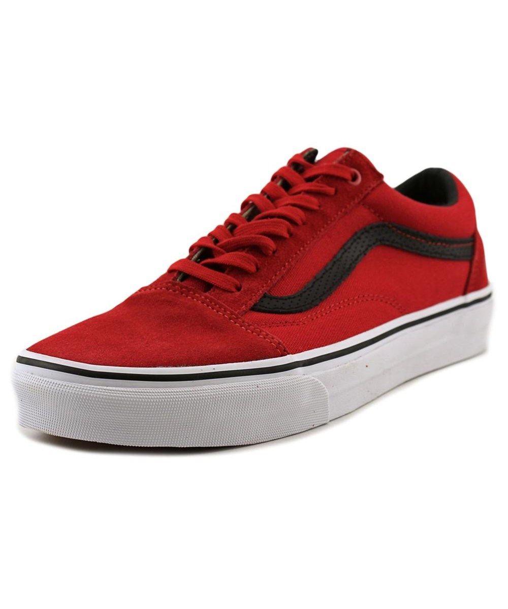 Vans Old Skool Men Round Toe Canvas Red Sneakers Modesens Kids Shoe Stores Vans Old Skool Kids Shoes Online
