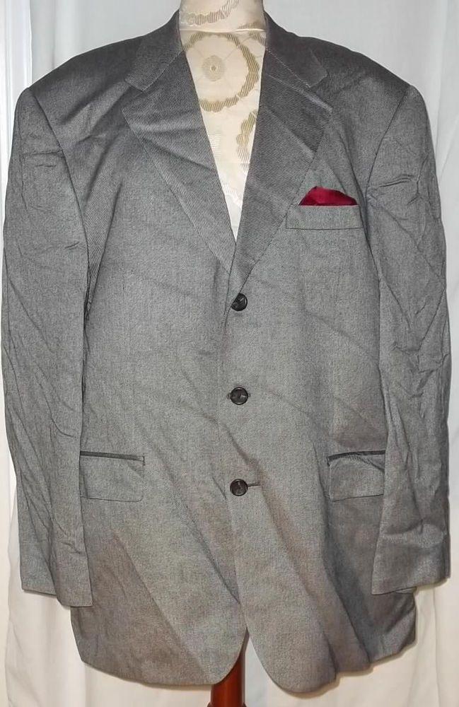 Ralph Lauren NWOT Black White with Maroon Pocket Square Blazer Jacket Size: 44R #LaurenRalphLauren #ThreeButton