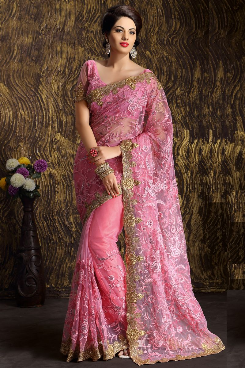 e2804380a6 Pink Designer Party Wear Sarees From Onlinesareessshopping.com ...