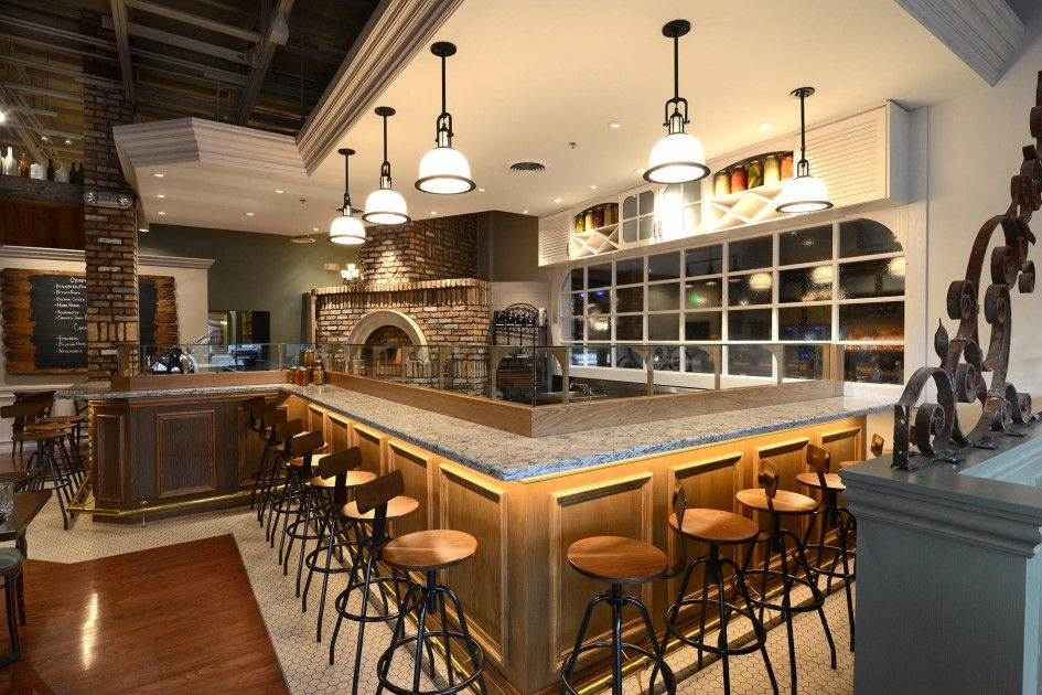 Charming Interior, Fabulous Restaurant Bar Designs With Classic Wooden Bar Table  With Gray Marble Counter Top