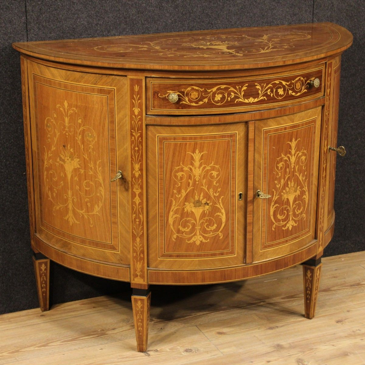 Good Price: Italian Half Moon Sideboard Finely Inlaid In Walnut And Various  Woods. Furniture With Four Doors And A Drawer. Century Cupboard, Complete  Of Two ...