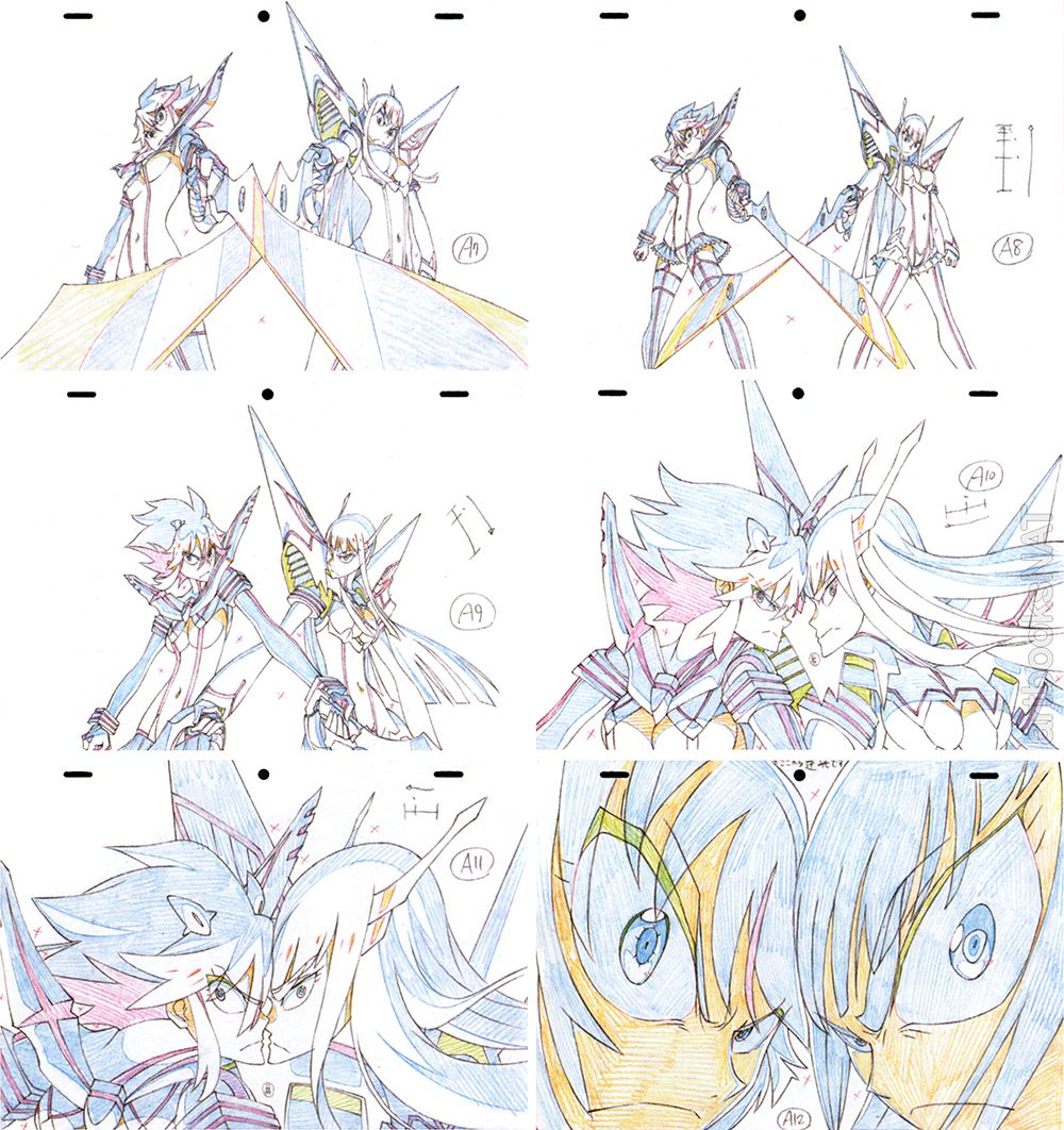 "from ""Kill la Kill"" (anime). Keyframes from episode #24 with Satsuki and Ryuko. Illustrated by Shuichi Iseki."