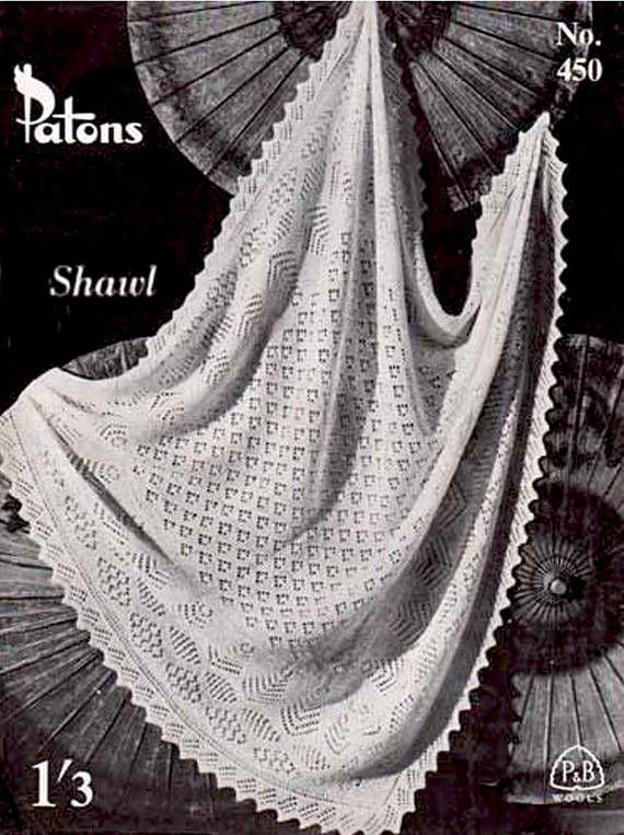 PDF Vintage 1940s P & B Baby DIAMOND Shawl Knitting Pattern Blanket ...