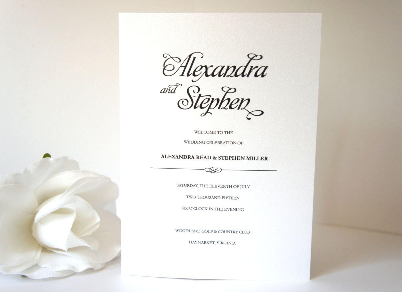 Simple Elegant Program - DEPOSIT | Modern wedding program, Elegant ...