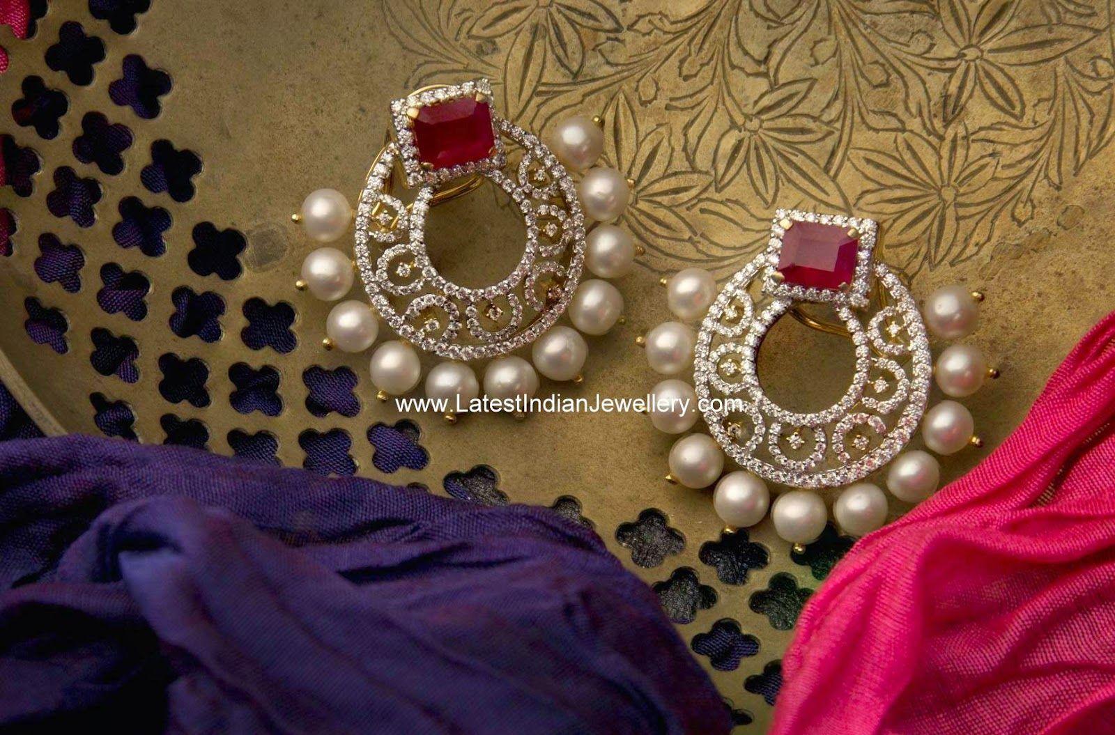 Classy Diamond Ruby Earrings | Diamond, Jewel and Indian jewelry